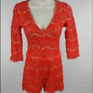 Arden B Lace Red Romper